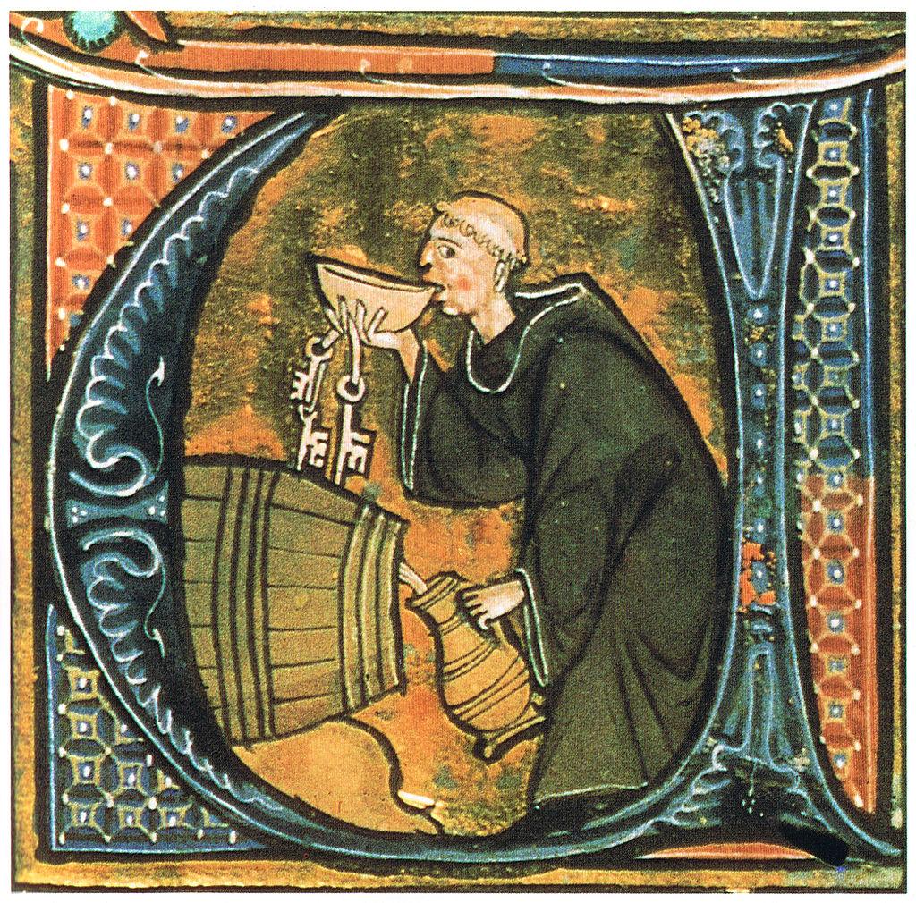 Wein trinkender Mönch aus Li livres dou santé by Aldobrandino of Siena.
