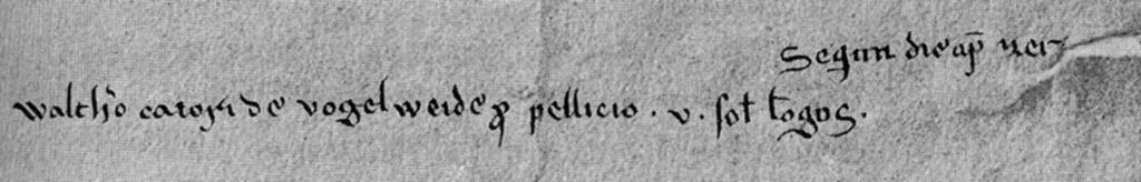 einzige urkundliche Erwähnung Walthers von der Vogelweide