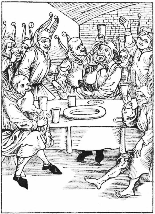 """Holzschnitt aus Sebastian Brant """"Narrenschiff"""" - passend zur Tischzucht; Bild wohl von Albrecht Dürer"""