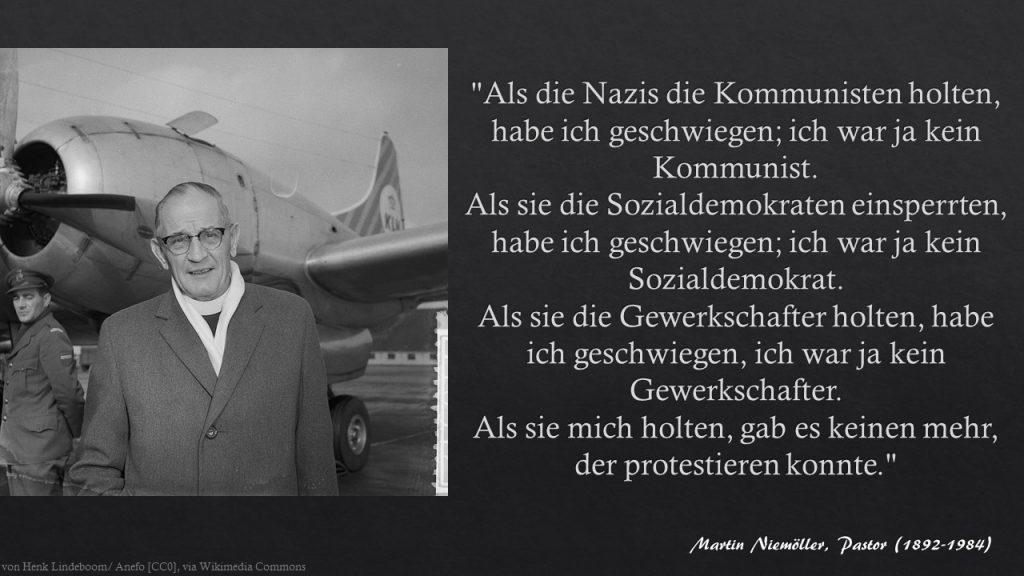 Zettelkasten Martin Niemöller - Als die Nazis die Kommunisten holten ...
