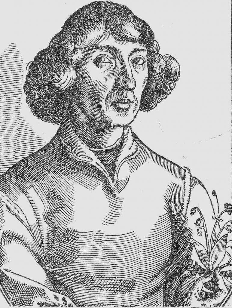 """Kopernikus-Portrait aus dem Holzschnitt in Nicolaus Reusners († 1602) """"Icones"""" (1587), der von Christoph Murer († 1614) nach einem angeblichen Selbstportrait von Kopernikus gefertigt wurde. Dieses Portrait wurde zur Vorlage einer Reihe weiterer Holzschnitt-, Kupferstich- und Gemälde-Portraits von Kopernikus. Tobias Stimmer (Icones, p. 36) [Public domain], via Wikimedia Commons"""
