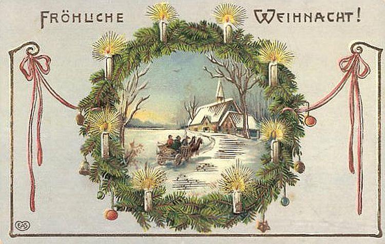 Fröhliche Weihnachten - historische Postkarte