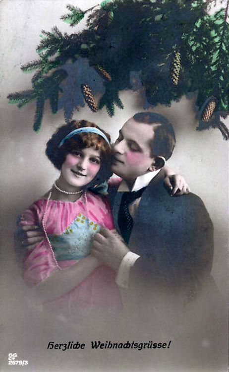 Fröhliche Weihnachtsgrüße - historische Postkarte