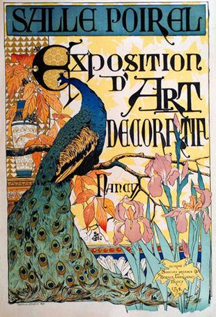 Ausstellungsplakat der L'Exposition d'art décoratif der Galeries Poirel in Nancy im Jahr 1894, Entwurf Camille Martin (1861 - 1898)