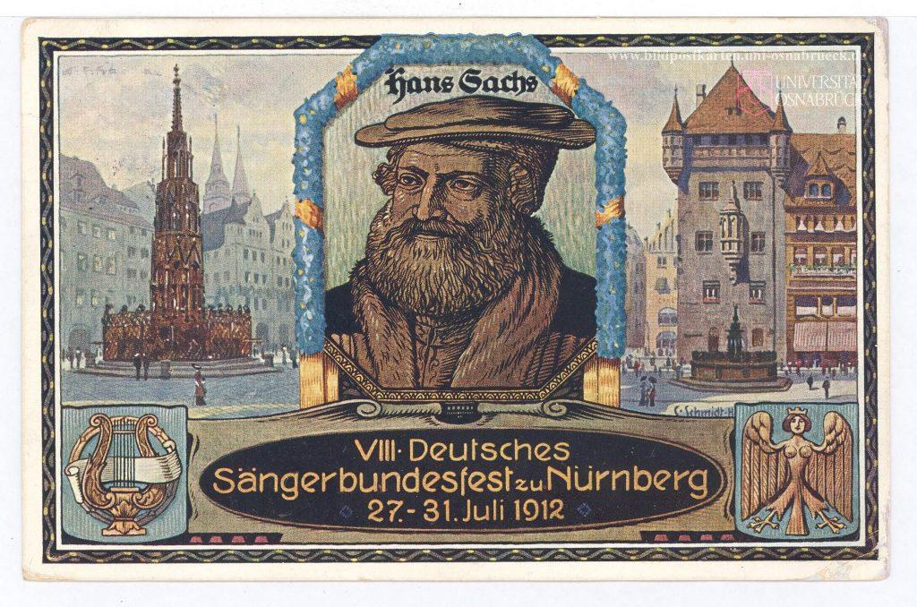Hans Sachs auf der Postkarte des 8. Deutschen Sängerbundfestes 1912 in Nürnberg