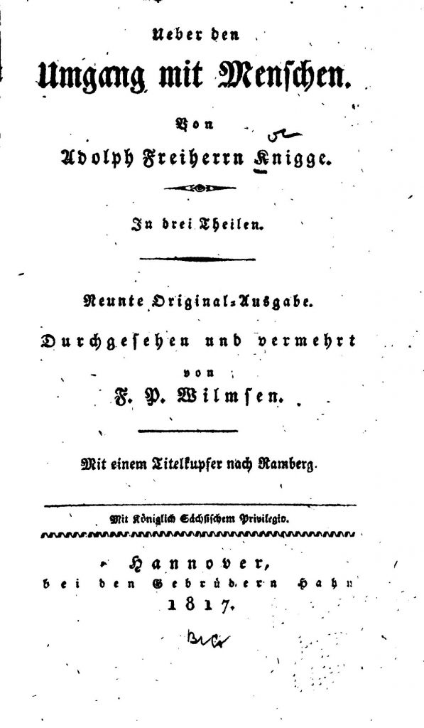 """Deckblatt Adolph Freiherr von Knigge """"Über den Umgang mit Menschen"""""""