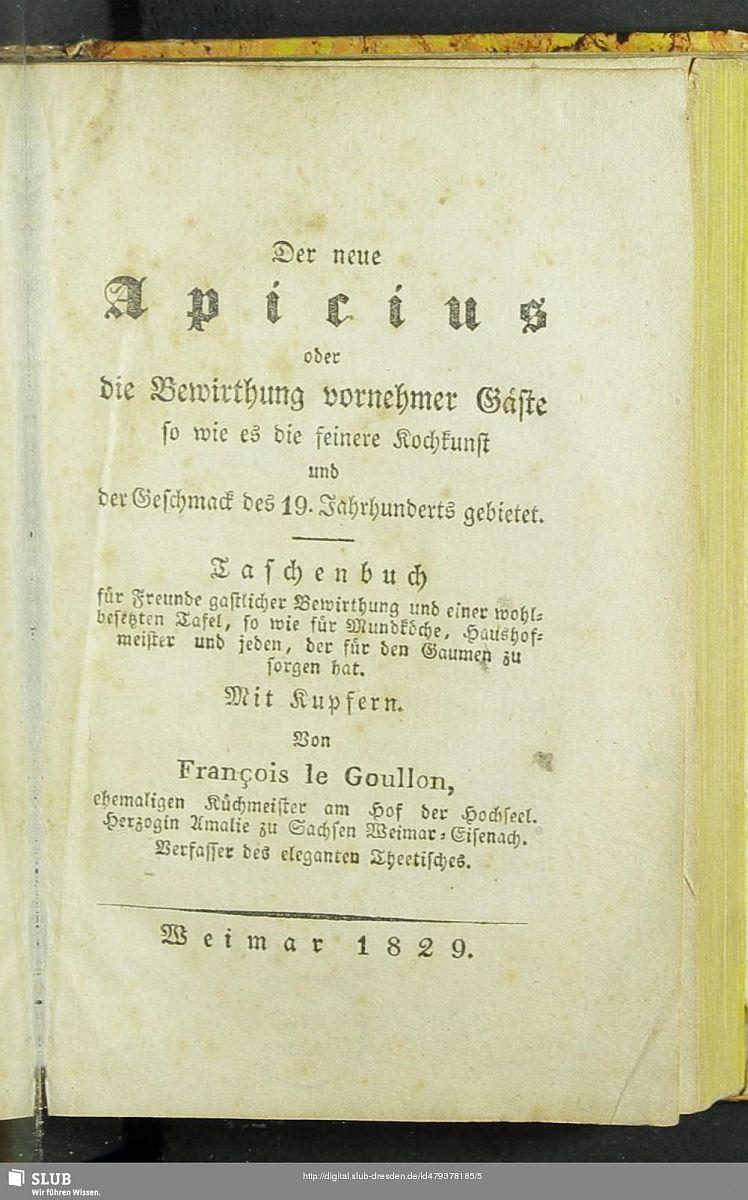 """Francois Le Goullon """"Der neue Apicius"""""""