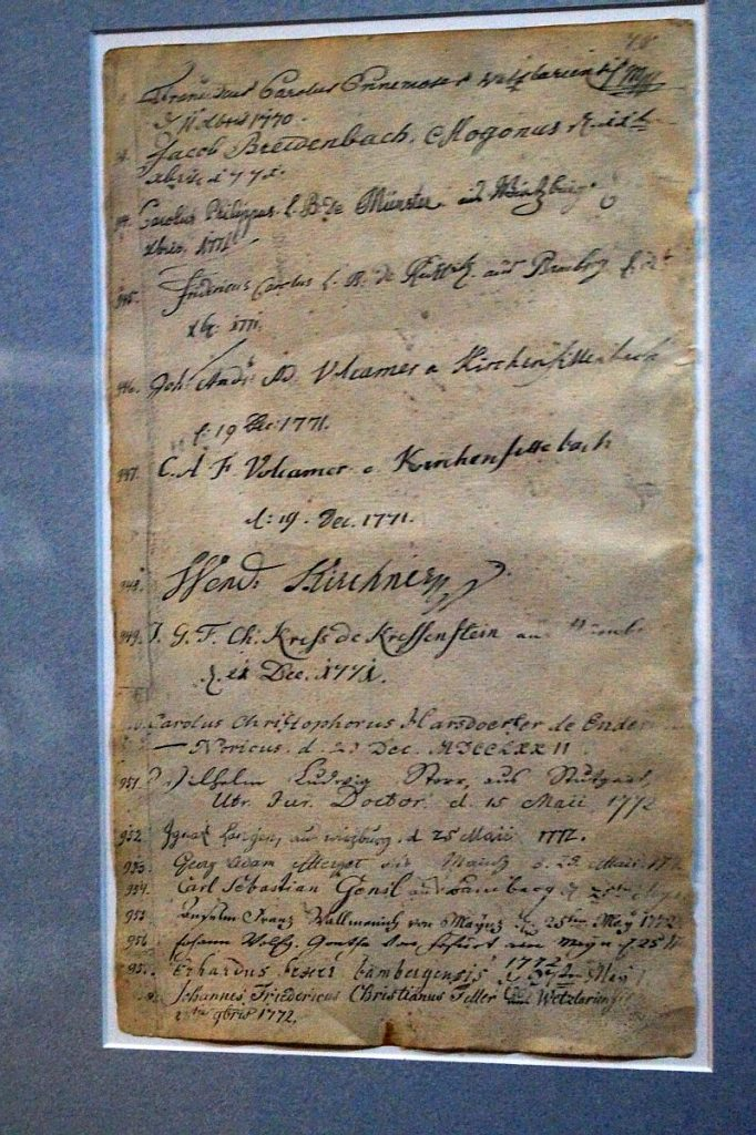 Immatrikulation Johann Wolfgang Goethe im Reichskammergericht Wetzlar Reichskammergerichtsmuseum