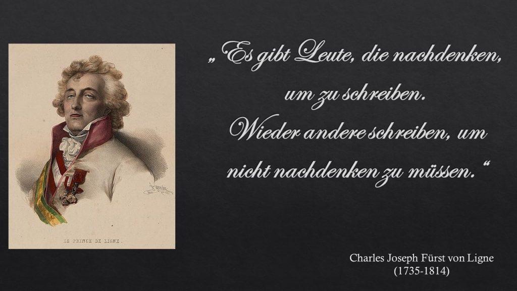 Charles Joseph Ligne über Schreiben und Denken