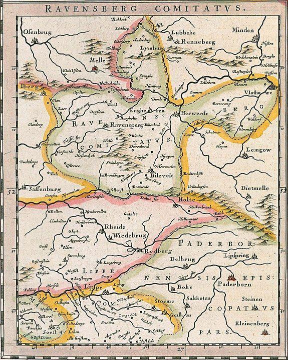 Historische Karte der Grafschaft Ravensberg in Comitatus Marchia et Ravensberg aus dem Atlas Theatrum orbis terrarum, sive, Atlas novus in quo Tabulae et Descriptiones omnium Regionum