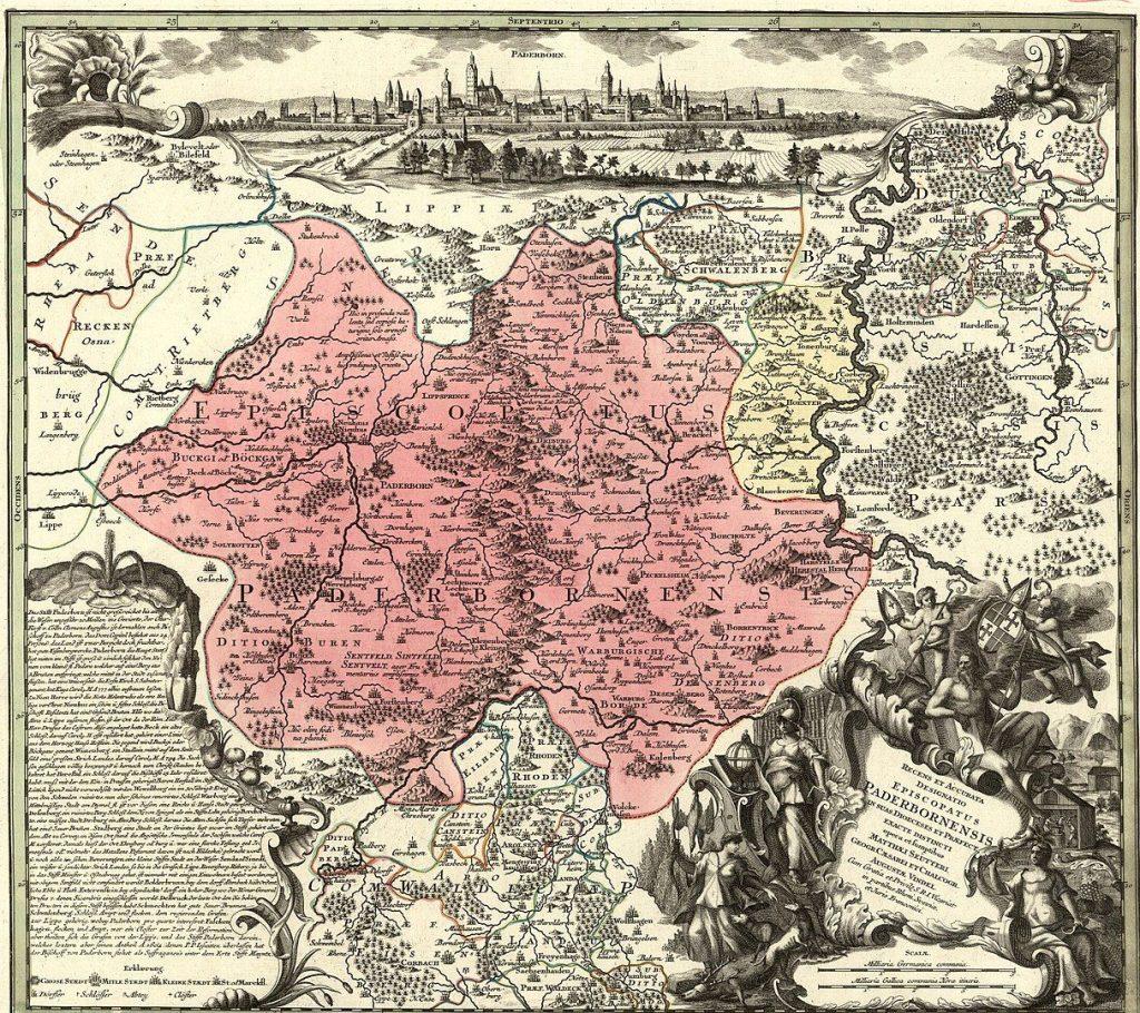 Matthäus Seutter: Karte des Hochstifts Paderborn um 1750