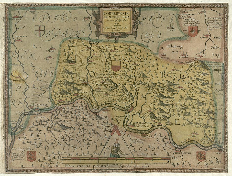 Karte der Fürstabtei Corvey von Johannes Gigas (1620)