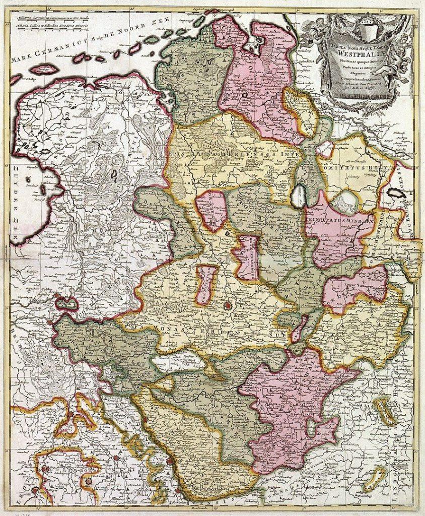 Niederrheinisch-Westfälischer Reichskreis Landkarte von Westfalen von Peter Schenk dem Älteren um 1710