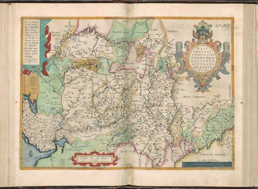 Plate '046av-046br' from the Atlas Ortelius by Abraham Ortelius. Original edition from 1571 with additions from 1573, 1579 and 1584