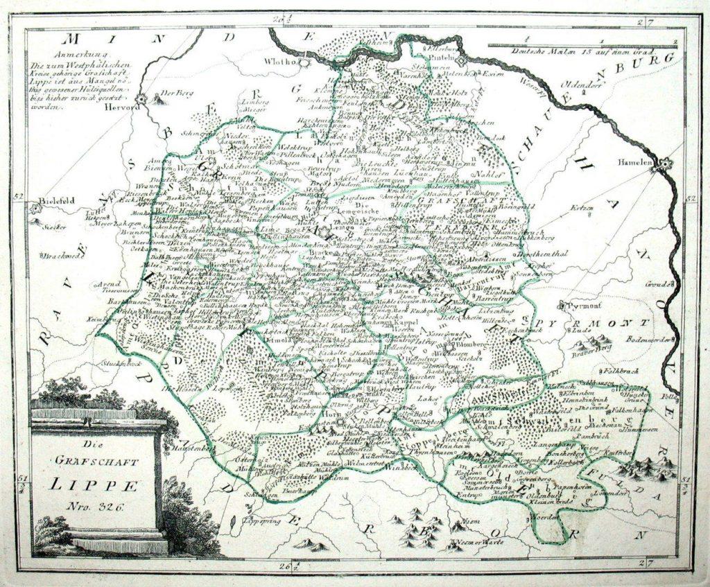 Die Grafschaft Lippe. Nro. 326. Kolorierter Kupferstich