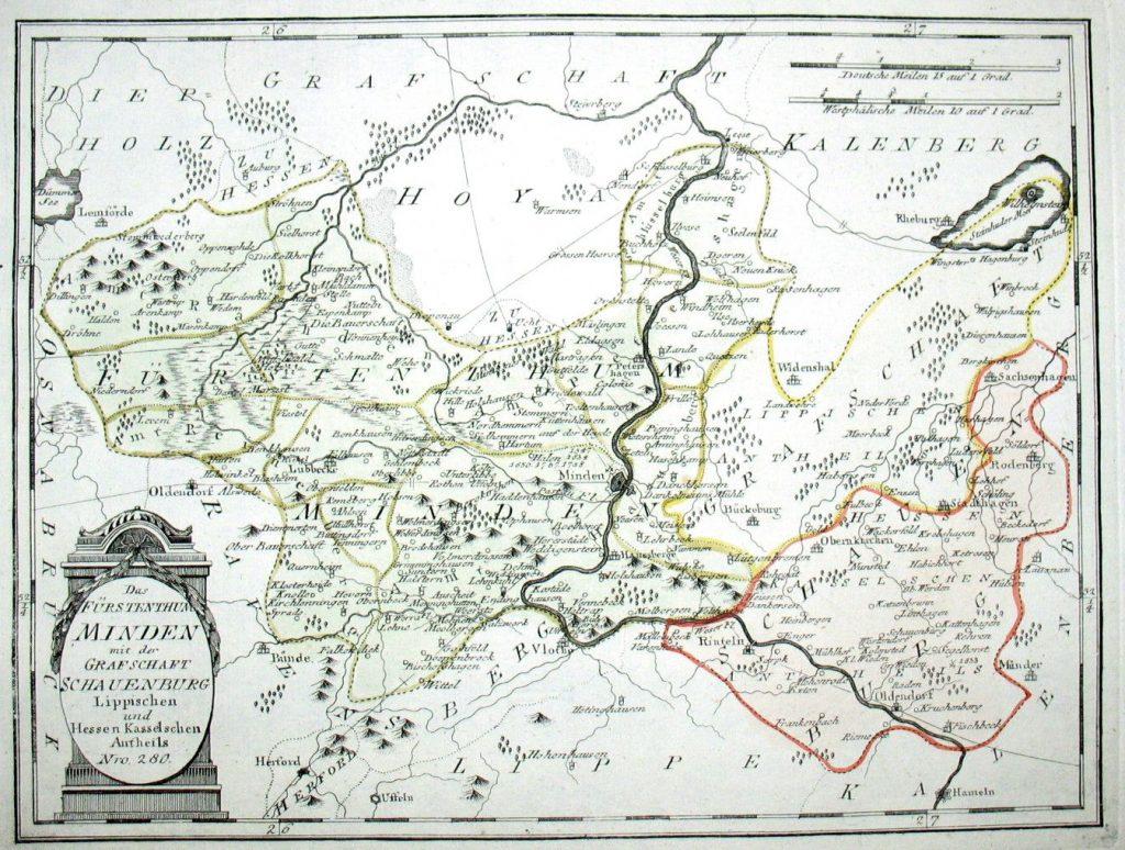 Das Fürstenthum Minden mit der Grafschaft Schauenburg Lippischen und Hessen-Kasselschen Antheils. Nro. 280. Kolorierter Kupferstich