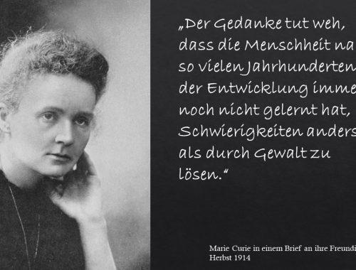 Marie Curie Schwierigkeiten durch Gewalt lösen
